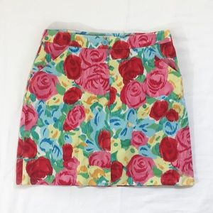 Talbots Watercolor Floral Cotton Blend Skirt